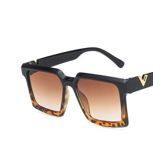 V-shaped decorative sunglasses square large frame new retro  trendy sunglasses  nihaojewelry wholesale NHKD222789's discount tags