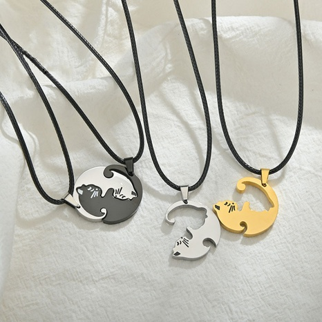 Simple creative embrace love cat necklace stainless steel round card couple stitching necklace nihaojewelry wholesale NHHF214487's discount tags