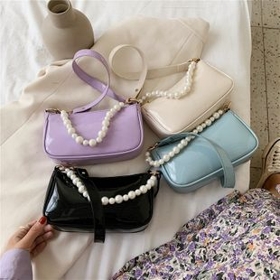 new trendy fashion  texture foreign style solid color single shoulder armpit bag female simple wild lacquer pearl handbag nihaojewelry wholesale NHPB222943's discount tags