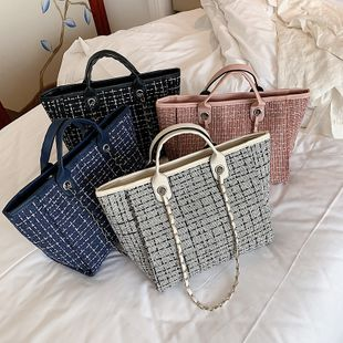 new fashion simple  style  woven shoulder bag female wild large capacity chain tote bag nihaojewelry wholesale NHPB222961's discount tags