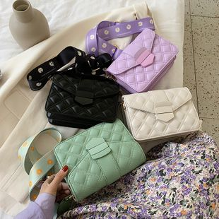 new  Korean simple style Lingge embroidery thread solid color lock broadband daisy shoulder slung small square bag nihaojewelry wholesale NHPB222965's discount tags