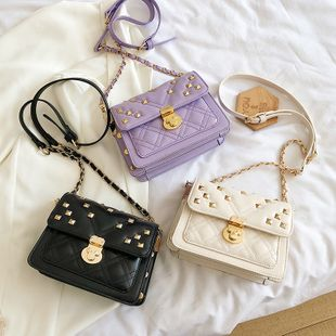 new fashion rhombic embroidery thread chain lock stray bag female wild small fragrant rivet shoulder messenger bag NHPB222966's discount tags
