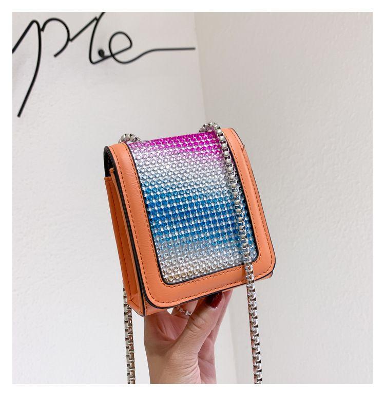 Korean simple  new trendy wild bright diamond chain crossbody bag fashion small square bag nihaojewelry wholesale NHTC223082