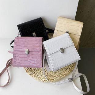 nouveau rétro motif de pierre sauvage portable sac à bandoulière étranger couleur unie serrure unique épaule petit sac carré nihaojewelry en gros NHPB223155's discount tags
