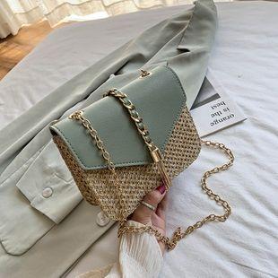 Mode coréenne nouvelle chaîne de gland sauvage sac bandoulière mode féminine tissé à clapet épaule petit sac carré nihaojewelry en gros NHPB223162's discount tags