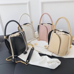 new wave fashion splicing pumping portable bucket bag  wild chain single shoulder messenger bag nihaojewelry wholesale NHPB223164's discount tags