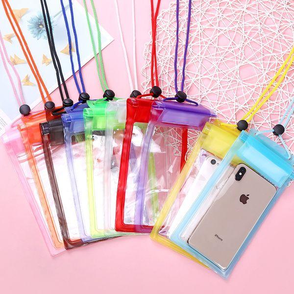mobile phone waterproof bag transparent three waterproof mobile phone bag drifting swimming hot spring waterproof bag wholesale NHJA223242
