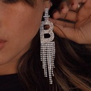 vente chaude lettre B griffe chane alliage strass diamant long gland boucles doreilles en gros nihaojewelry NHJE223264