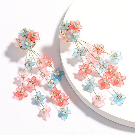 hot-sale multi-layer resin flower diamonds earrings girl heart literary style earrings wholesale nihaojewelry NHJE223268's discount tags