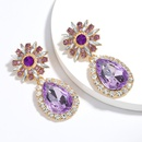 exaggerated big dropshaped rhinestone glass diamond super flash full diamond earrings tide retro eyecatching earrings wholesale nihaojewelry NHJE223270