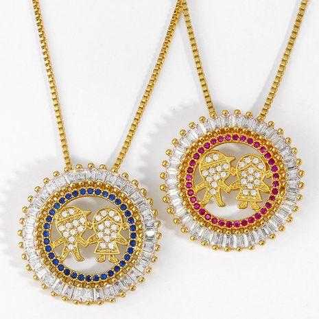 bijoux de mode couple collier garçon fille diamant pendentif collier cadeau d'anniversaire en gros nihaojewelry NHAS223271's discount tags