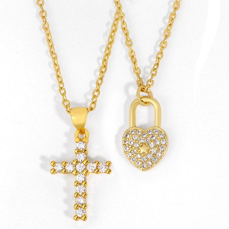 explosion models jewelry diamond cross necklace love lock pendant necklace choker jewelry wholesale nihaojewelry NHAS223272's discount tags