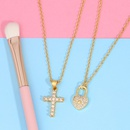 explosion models jewelry diamond cross necklace love lock pendant necklace choker jewelry wholesale nihaojewelry NHAS223272