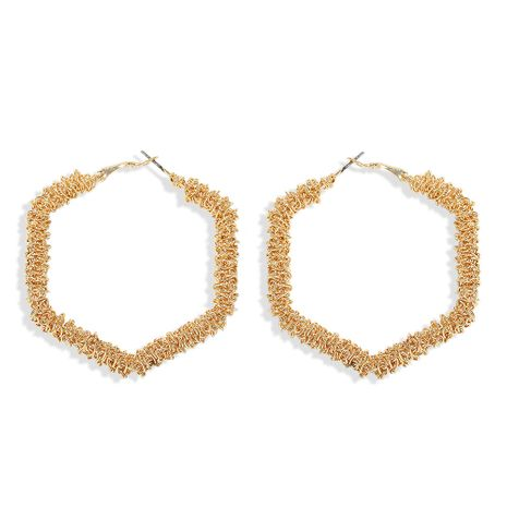 fashion temperament hexagon metal geometric big ear ring exaggerated simple hollow earrings fashion wholesale nihaojewelry NHJQ223276's discount tags