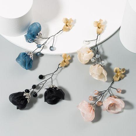 yarn flower earrings female alloy crystal beaded fashion long tassel flower earrings wholesale nihaojewelry NHLN223279's discount tags