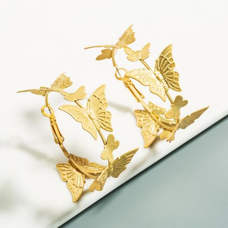 earrings explosion gold butterfly earrings ladies gold earrings Korean temperament earrings wholesale nihaojewelry NHLN223283's discount tags