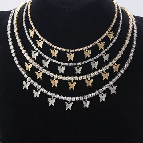 fashion trend new high-end simple super flash butterfly necklace ladies brass white gold plated zircon fine clavicle chain wholesale nihaojewelry NHLN223284's discount tags