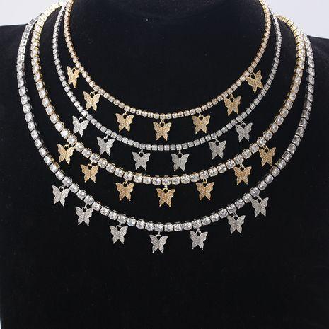 tendance de la mode nouveau haut de gamme simple super flash papillon collier dames en laiton plaqué or blanc zircon fine chaîne de clavicule en gros nihaojewelry NHLN223284's discount tags