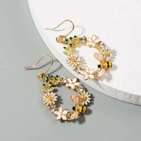 hot selling creative flowers dripping alloy earrings S925 silver needle diamond color butterfly bee ear jewelry wholesale nihaojewelry NHLN223285's discount tags