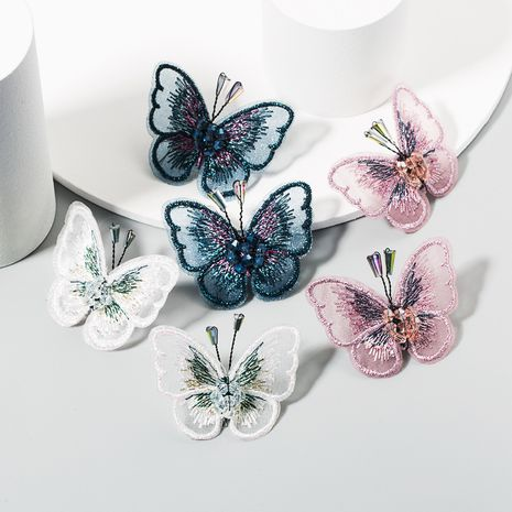 Department Korean temperament butterfly super fairy l lace embroidery diamond earrings fashion wild ear jewelry wholesale nihaojewelry NHLN223287's discount tags