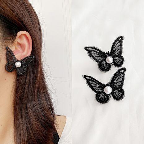 Lace pearl butterfly earrings super fairy forest girl style new tide earrings wholesale nihaojewelry NHLN223288's discount tags
