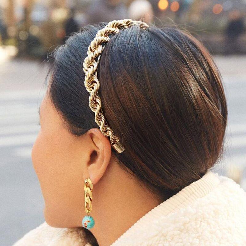 fashion trend new alloy chain interlocking metal headband fashion twist hair accessories wholesale niihaojewelry NHMD223292