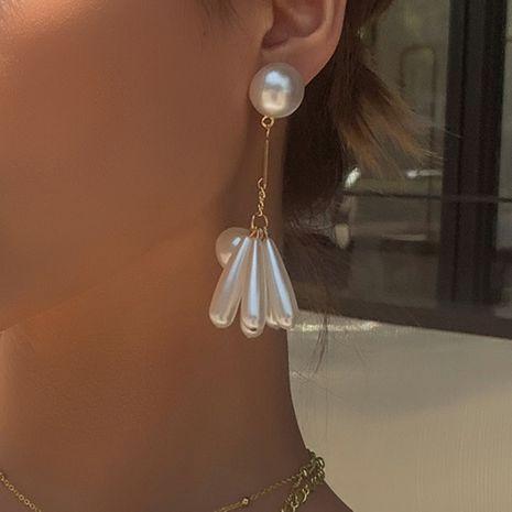 fashion creative drop-shaped pearl earrings Japanese and Korean new long sweet temperament earrings wholesale nihaojewelry NHMD223297's discount tags