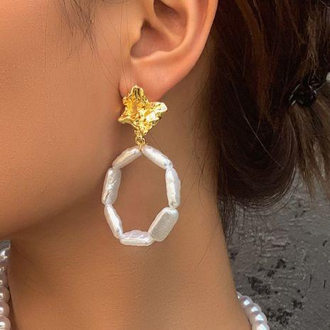 fashion trend jewelry personalized geometric round pearl earrings fashion wild fold alloy head earrings wholesale nihaojewelry NHMD223298's discount tags