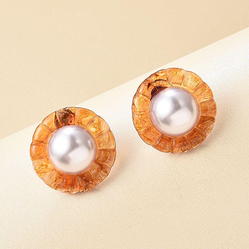 fashion acetate sheet resin round ring retro Hong Kong style creative pearl earrings wholesale nihaojewelry NHMD223305