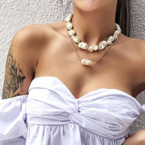 fashion holiday style irregular pearl necklace creative wild necklace set wholesale nihaojewelry NHMD223308's discount tags