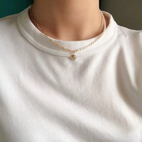 new simple trend jewelry creative asymmetric stitching pearl necklace wholesale nihaojewelry NHMD223310's discount tags