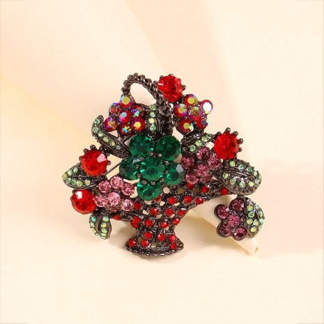 creative retro flower basket brooch cross-border personality geometric flower color full diamond brooch accessories wholesale niihaojewelry NHMD223312's discount tags