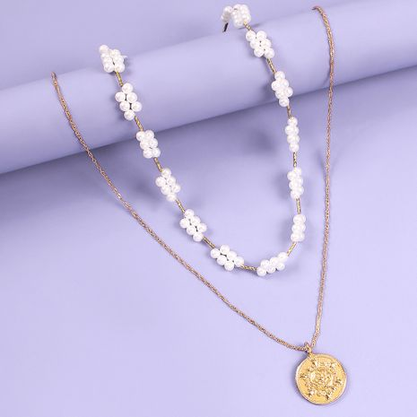 new fashion pearl necklace creative alloy disc pendant temperament necklace set wholesale nihaojewelry NHMD223313's discount tags