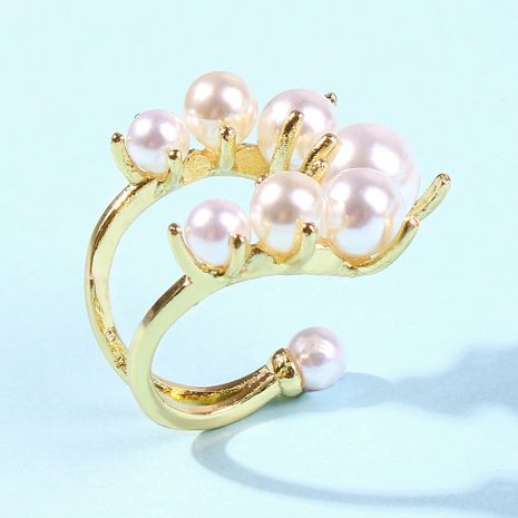 fashion niche design pearl ring trend semi-open creative alloy ring wholesale niihaojewelry NHMD223316's discount tags