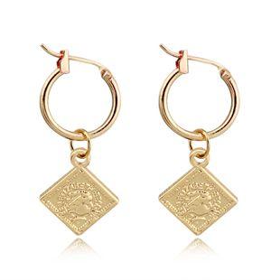 fashion retro cute square beauty head small pendant hoop earring simple geometric queen head ear ring ear buckle wholesale nihaojewelry NHGO223340's discount tags