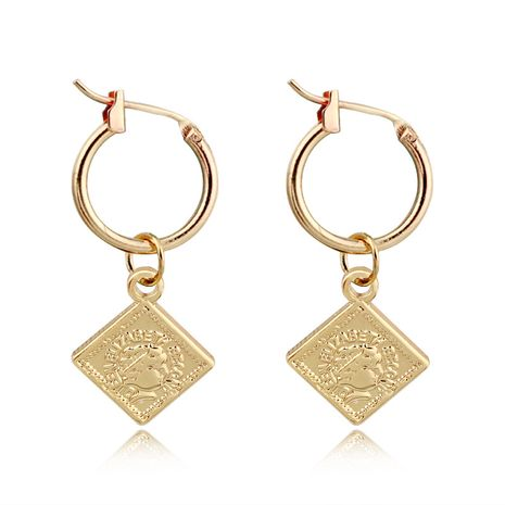 fashion retro cute square beauty head small pendant hoop earring simple geometric queen head ear ring ear buckle wholesale nihaojewelry NHGO223340's discount tags