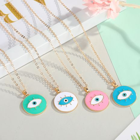 fashion jewelry Turkish blue eyes pendant necklace personality drop oil eyes necklace ladies accessories wholesale nihaojewelry NHGO223348's discount tags