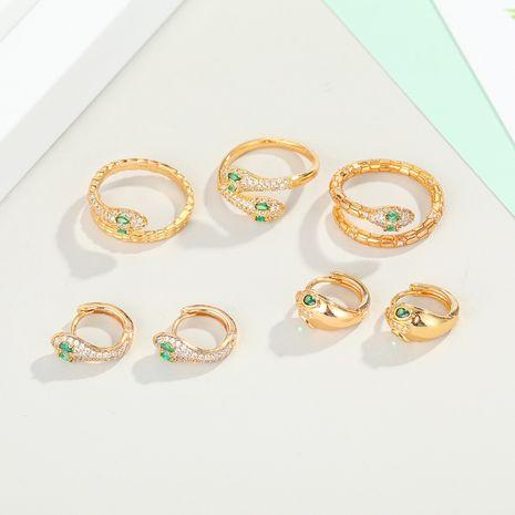 bijoux de mode micro-ensemble bague d'oreille de serpent boucle d'oreille de serpent exquis diamant réglable micro-ensemble boucles d'oreilles d'anneau de serpent en gros nihaojewelry NHGO223349's discount tags