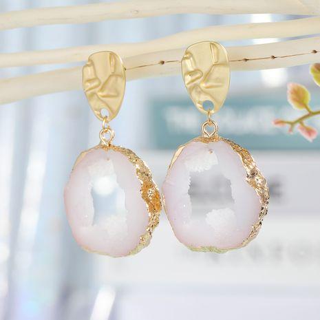 S925 argent aiguille bijoux creux blanc boucles d'oreilles géométrique imitation naturel pierre boucles d'oreilles minimaliste sauvage cristal résine gros nihaojewelry NHGO223351's discount tags