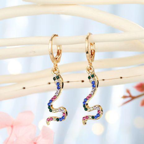 fashion jewelry personality snake ear ring creative point diamond animal ear buckle simple diamond earrings small earrings hoop wholesale niihaojewelry NHGO223355's discount tags