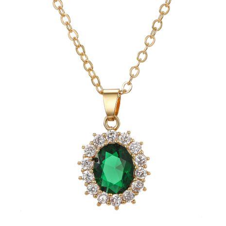 bijoux de mode exquis ovale cristal zircon collier nouveau tempérament micro-set pendentif collier en gros nihaojewelry NHGO223361's discount tags