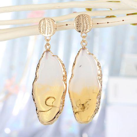 4 couleurs nouveaux bijoux longue imitation agate pièce boucles d'oreilles exagérées longues boucles d'oreilles halo résine boucles d'oreilles en résine nihaojewelry gros NHGO223362's discount tags