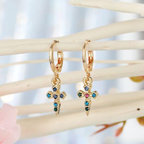 bijoux de mode croix oreille anneau créatif point diamant mot boucle d'oreille simple diamant boucles d'oreilles petites boucles d'oreilles en gros niihaojewelry NHGO223363's discount tags
