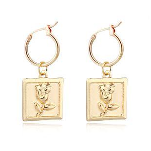 mode tendance bijoux rétro carré rose pendentif boucles d'oreilles géométrique anneau d'oreille boucle d'oreille vente chaude en gros nihaojewelry NHGO223385's discount tags
