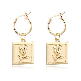 fashion trend jewelry retro square rose pendant earrings geometric ear ring ear buckle hot sale wholesale nihaojewelry NHGO223385's discount tags