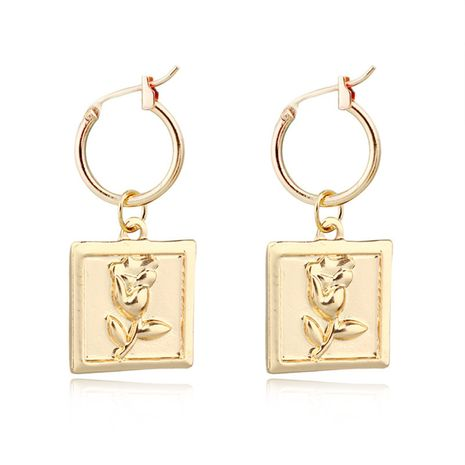 fashion trend jewelry retro square rose pendant earrings geometric ear ring ear buckle hot sale wholesale nihaojewelry NHGO223385's discount tags