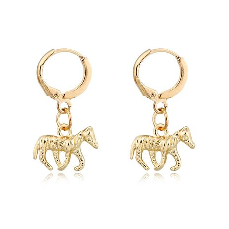 fashion trend personality jewelry retro punk pony earrings ancient silver three-dimensional animal small earrings ear buckle wholesale nihaojewelry NHGO223386's discount tags