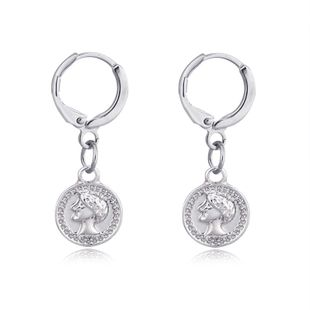 hot jewelry vintage engraving head coin earrings round ear ring ear buckle wholesale nihaojewelry NHGO223387's discount tags