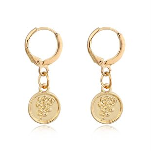 fashion trend classical earrings fashion retro round carved rose flower earrings   wholesale nihaojewelry NHGO223388's discount tags