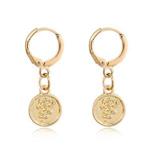 tendance de la mode boucles d'oreilles classiques mode rétro rond sculpté boucles d'oreilles fleur rose gros nihaojewelry NHGO223388's discount tags